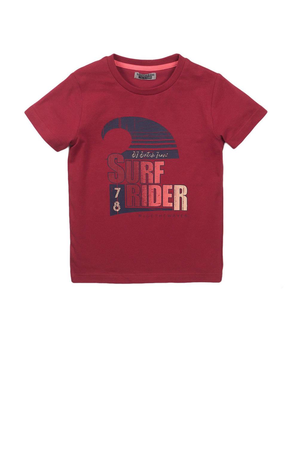 DJ Dutchjeans T-shirt met tekst rood/donkerblauw, Rood/donkerblauw
