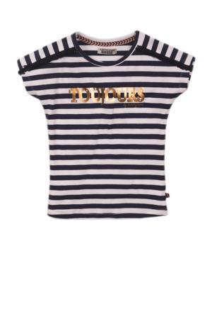 gestreept T-shirt donkerblauw/wit/goud
