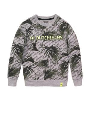 sweater met all over print grijs melange/donkergroen
