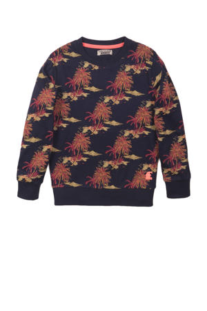 sweater met all over print donkerblauw/rood