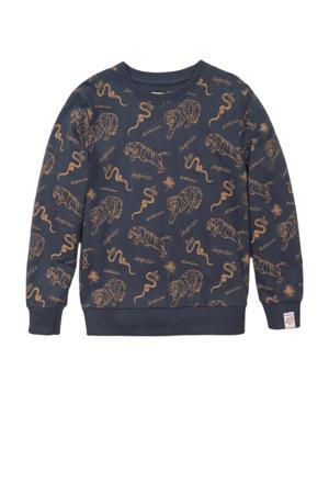 sweater met all over print antraciet/bruin