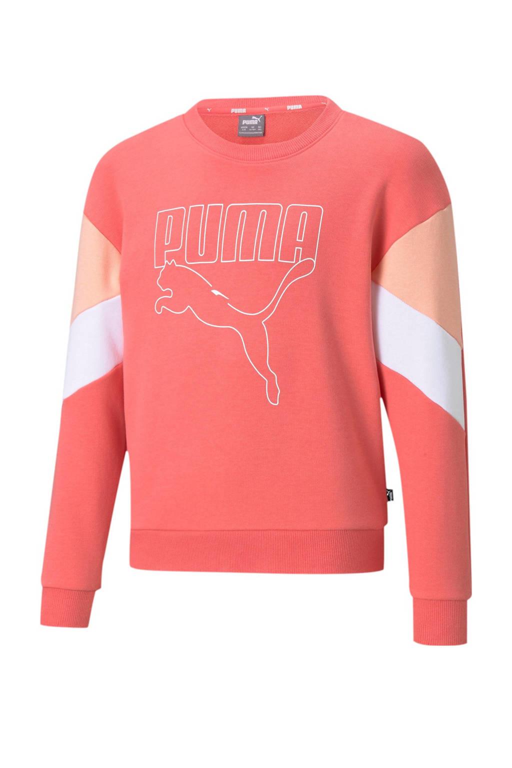 Puma sweater koraalrood/wit, Koraalrood/wit