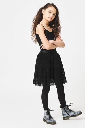 jurk Djill met all over print en mesh zwart