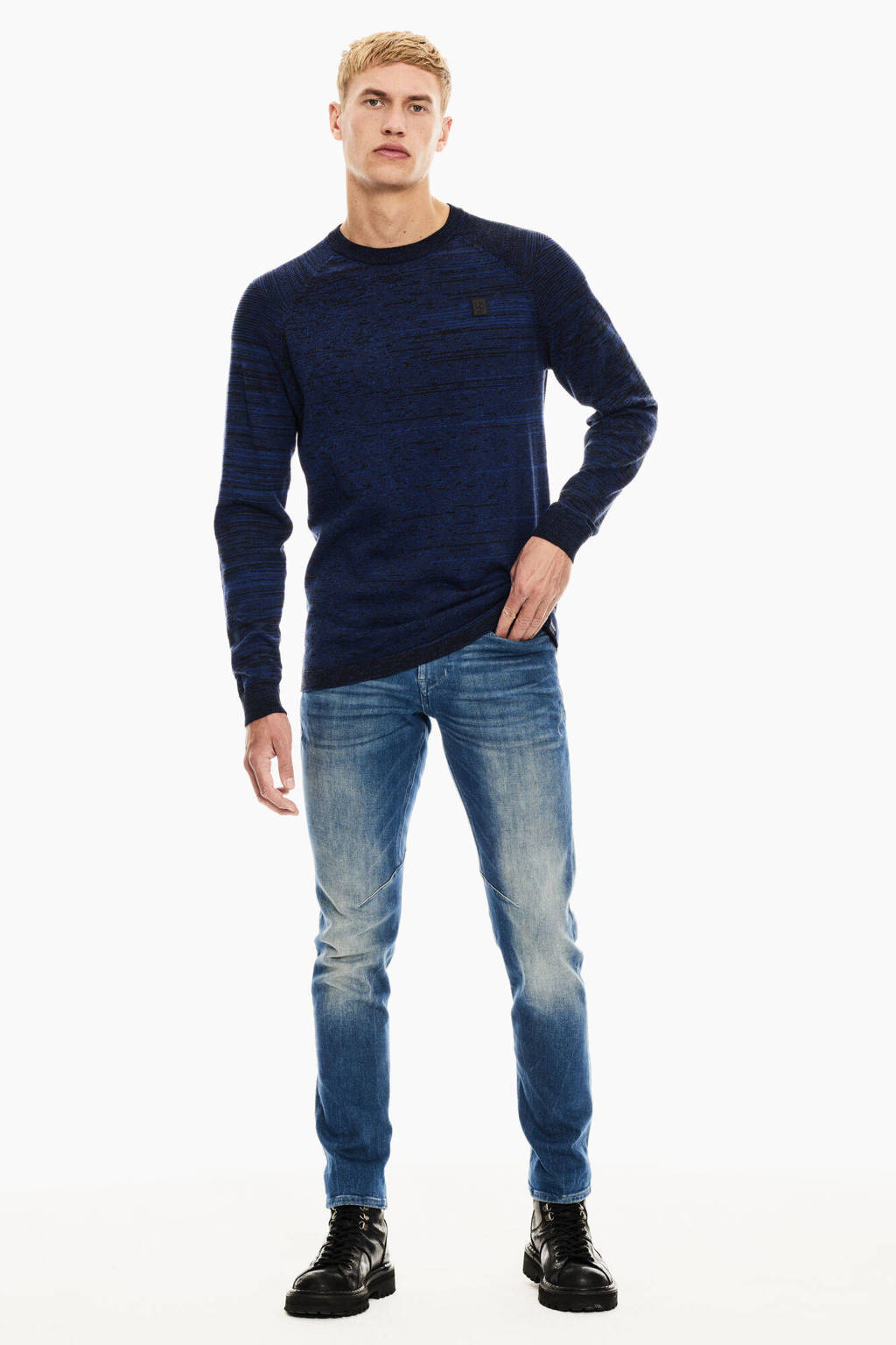 Garcia gemêleerde trui blauw/zwart, Blauw/zwart