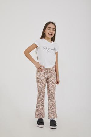 gebloemde flared broek Seroja okergeel/lichtroze