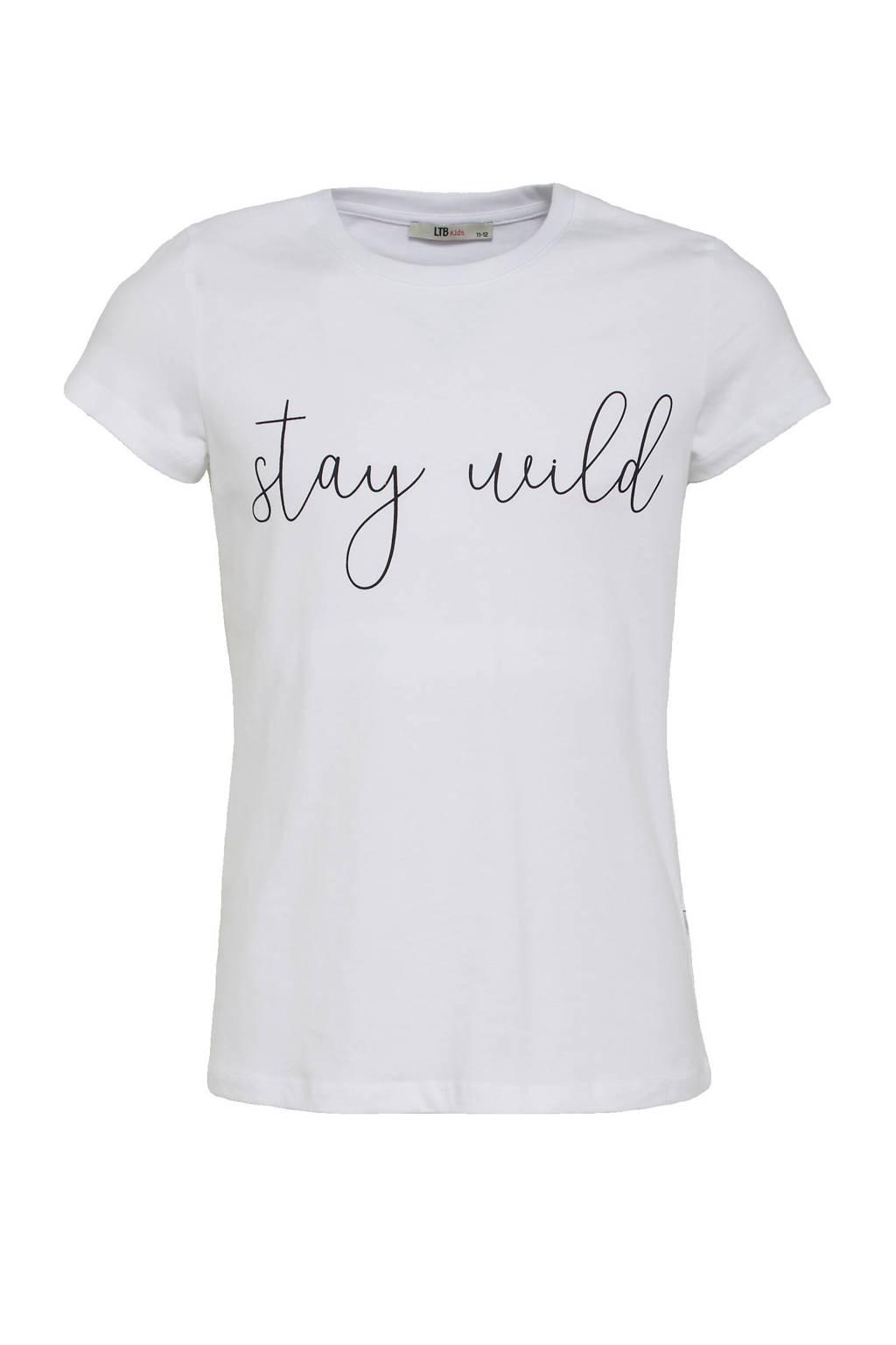 LTB T-shirt Nicowe met tekst wit, Wit