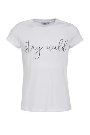 T-shirt Nicowe met tekst wit