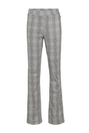 flared broek Bolofa met panterprint zwart/wit