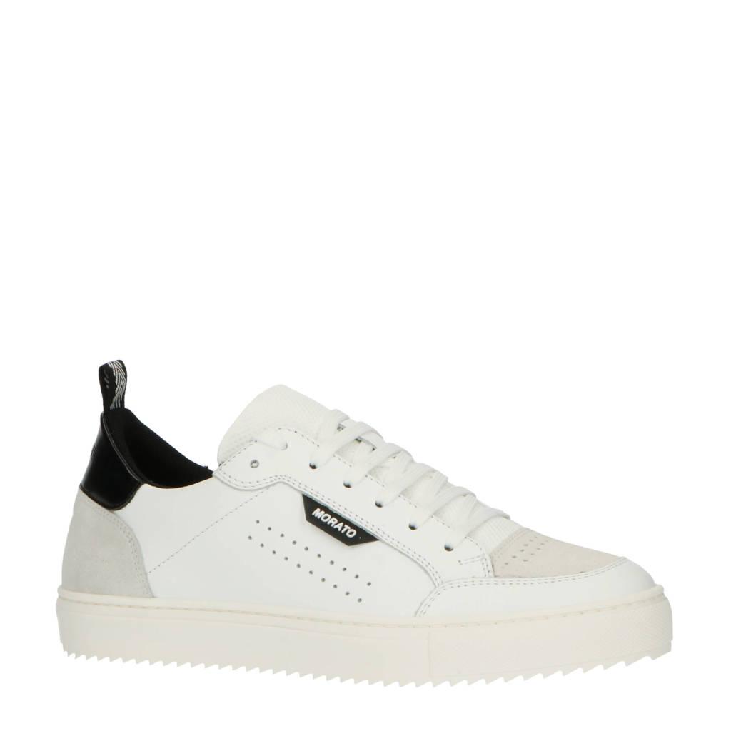 Antony Morato Low Keen  leren sneakers wit, Wit/zwart