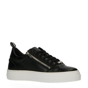 Zipper  leren sneakers zwart