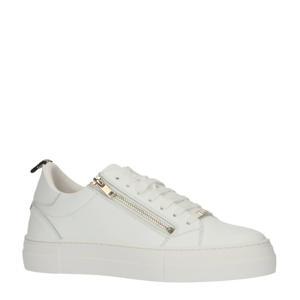 Zipper  leren sneakers wit