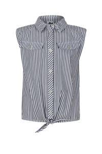 Jill & Mitch by Shoeby gestreepte blouse Alice met schoudervullingen zwart/wit, Zwart/wit