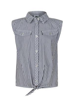 gestreepte blouse Alice met schoudervullingen zwart/wit