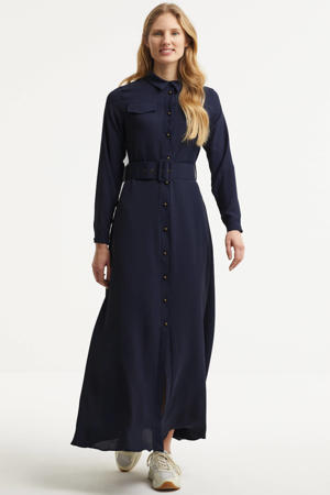 blousejurk met ceintuur donkerblauw