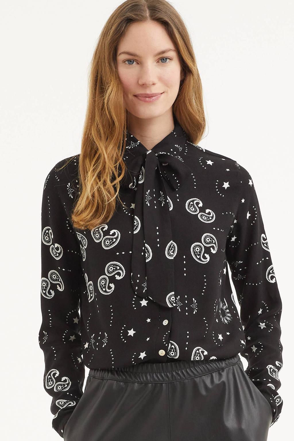 Est'seven blouse met all over print zwart, Zwart