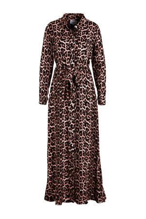 maxi jurk met ceintuur zwart/rood