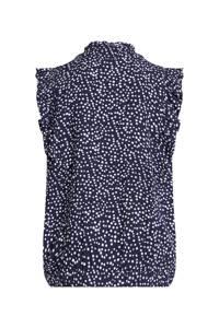 WE Fashion blouse met stippen donkerblauw/wit, Donkerblauw/wit