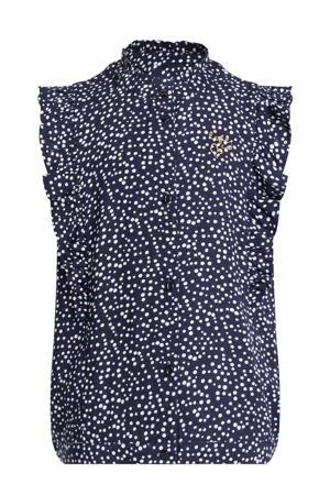 blouse met stippen donkerblauw/wit