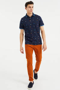 WE Fashion slim fit polo met contrastbies royal navy, Royal Navy