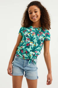 WE Fashion T-shirt met all over print groen, Groen