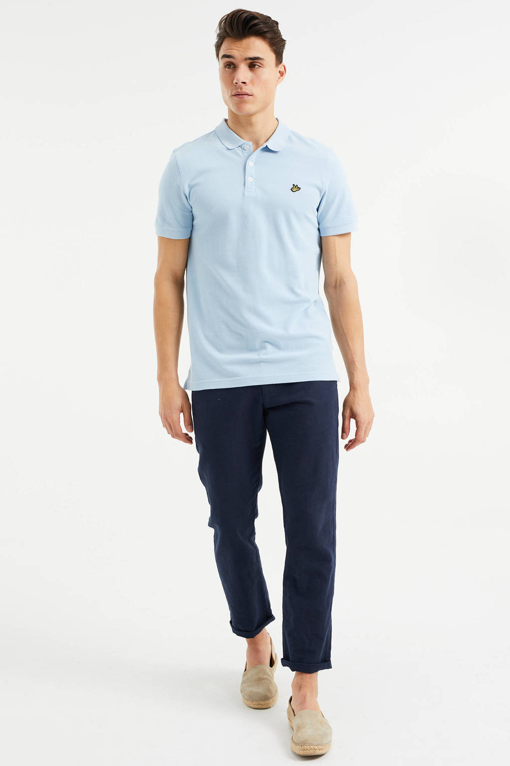WE Fashion slim fit polo van biologisch katoen bravo blue, Bravo Blue