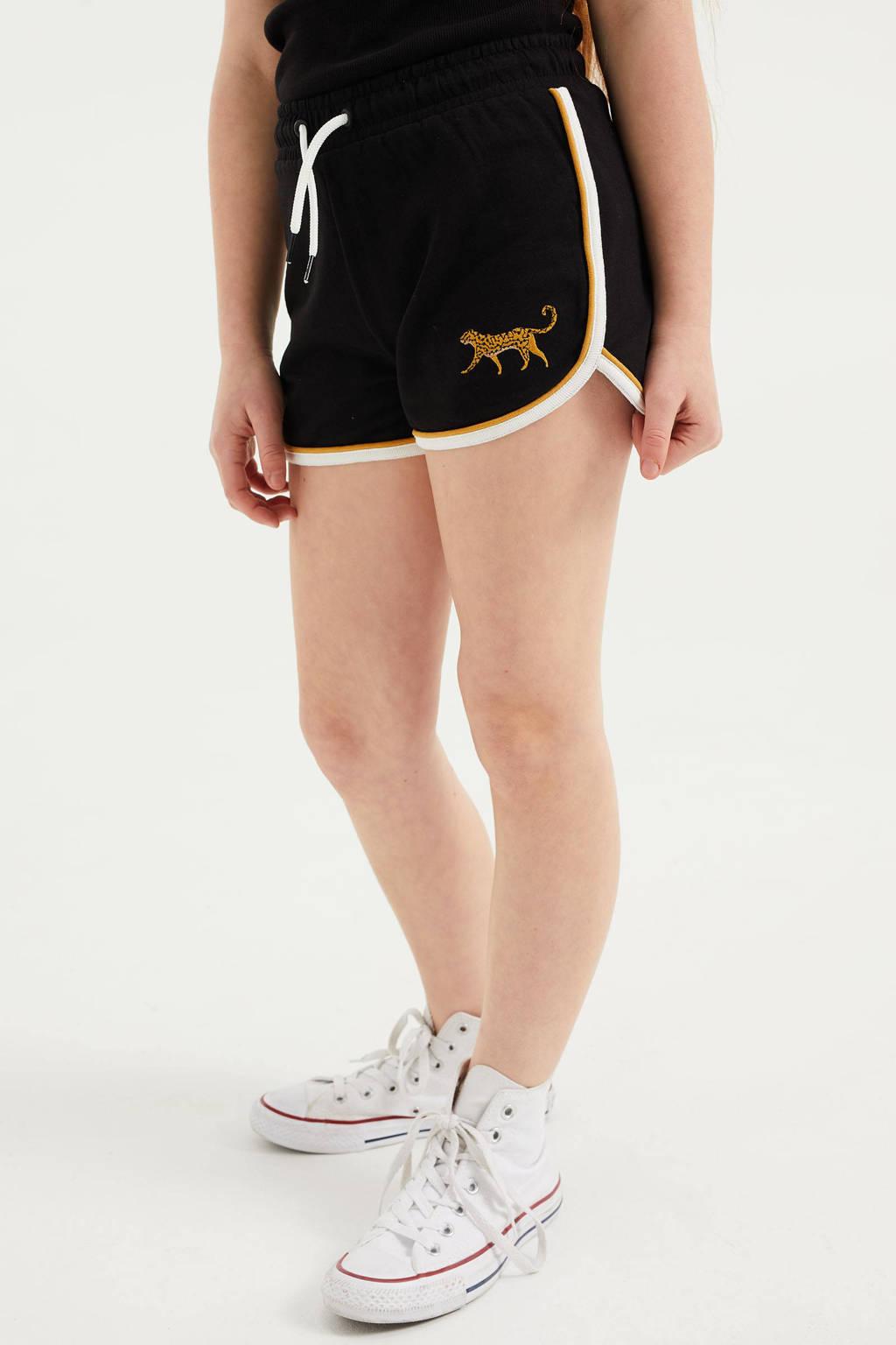 WE Fashion straight fit sweatshort met panterprint zwart/goud, Zwart/goud