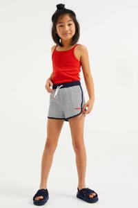 WE Fashion gestreepte straight fit sweatshort donkerblauw/wit, Donkerblauw/wit