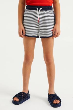 gestreepte straight fit sweatshort donkerblauw/wit