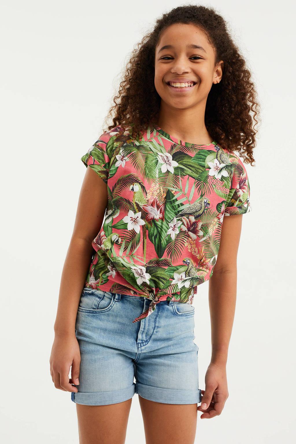 WE Fashion T-shirt met bladprint roze, Roze