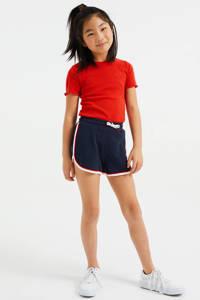 WE Fashion straight fit sweatshort met zijstreep donkerblauw/rood/wit, Donkerblauw/rood/wit