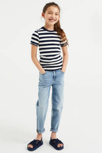 WE Fashion gestreept T-shirt donkerblauw/wit, Donkerblauw/wit