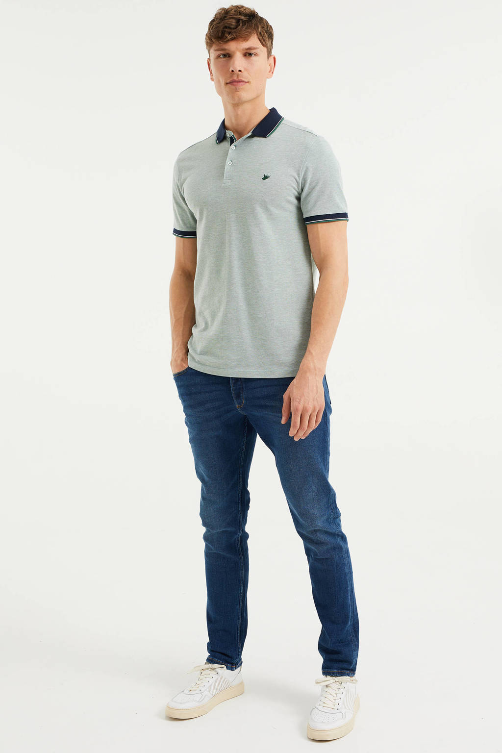 WE Fashion slim fit polo met contrastbies ivy green, Ivy Green