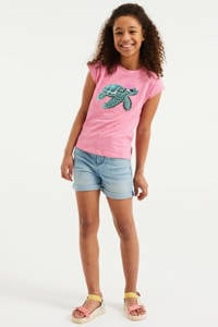 WE Fashion gestreept T-shirt roze, Roze