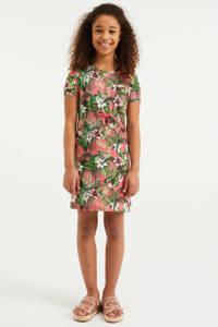 WE Fashion gebloemde jurk roze/groen/wit, Roze/groen/wit