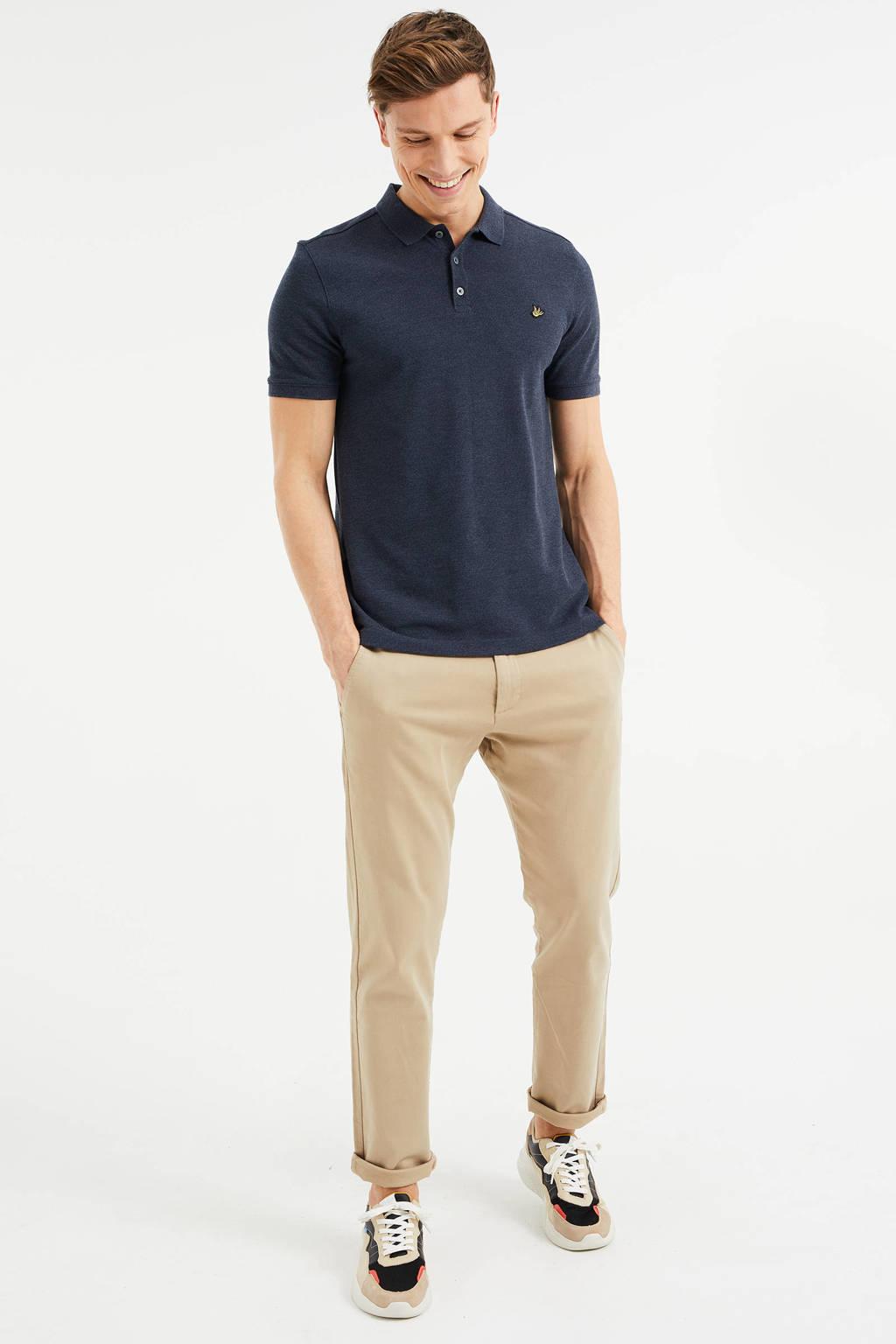 WE Fashion slim fit polo met biologisch katoen royal navy melange, Royal Navy Melange