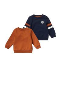 C&A Baby Club sweater - set van 2 roestbruin/donkerblauw/wit, Roestbruin/donkerblauw/wit