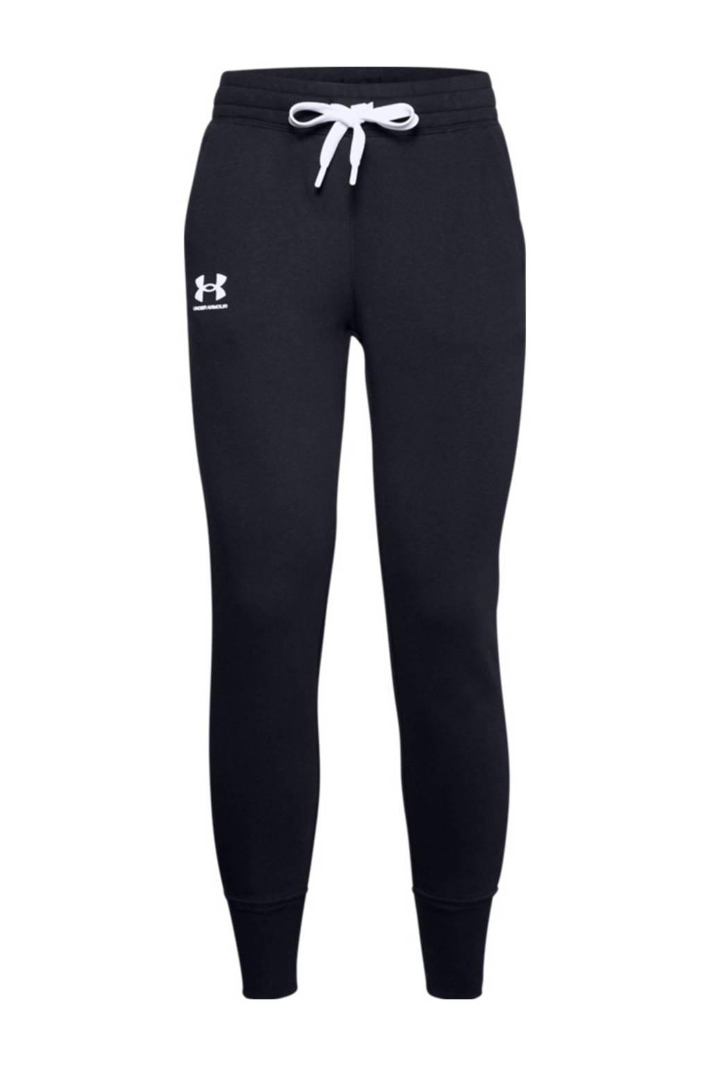 Under Armour joggingbroek zwart/wit, Zwart/wit