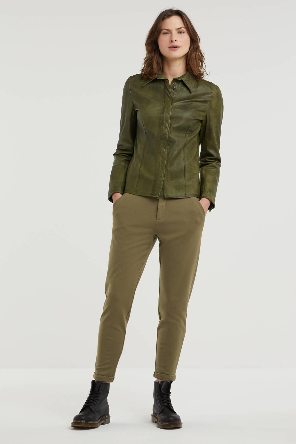 Goosecraft leren blouse groen, Groen