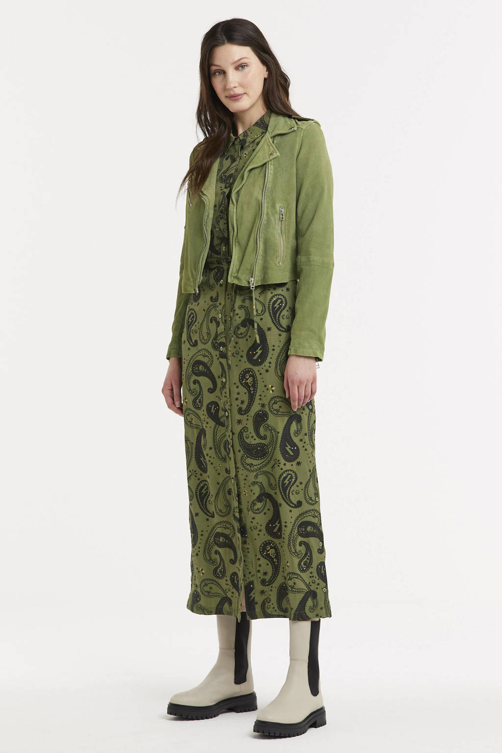 Goosecraft maxi blousejurk Harlow met paisleyprint olijfgroen/zwart/geel, Olijfgroen/zwart/geel