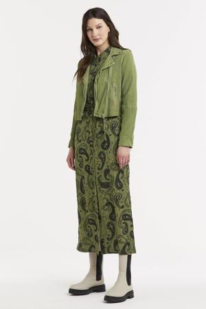 maxi blousejurk Harlow met paisleyprint olijfgroen/zwart/geel
