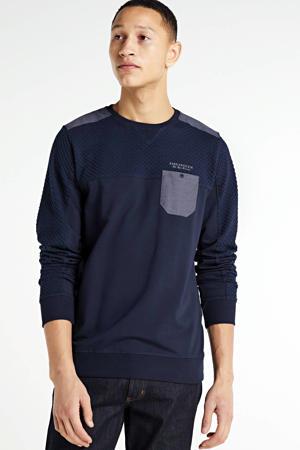 sweater met textuur donkerblauw