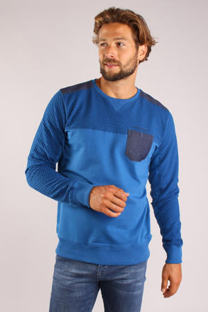 sweater met textuur kobaltblauw
