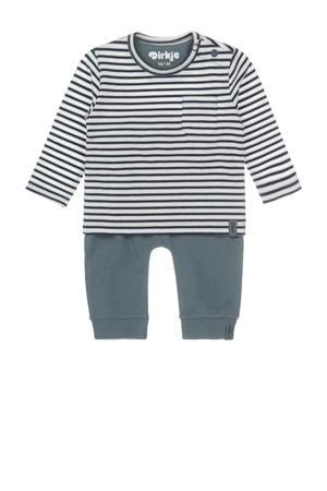 newborn longsleeve + broek grijsgroen/donkerblauw/wit