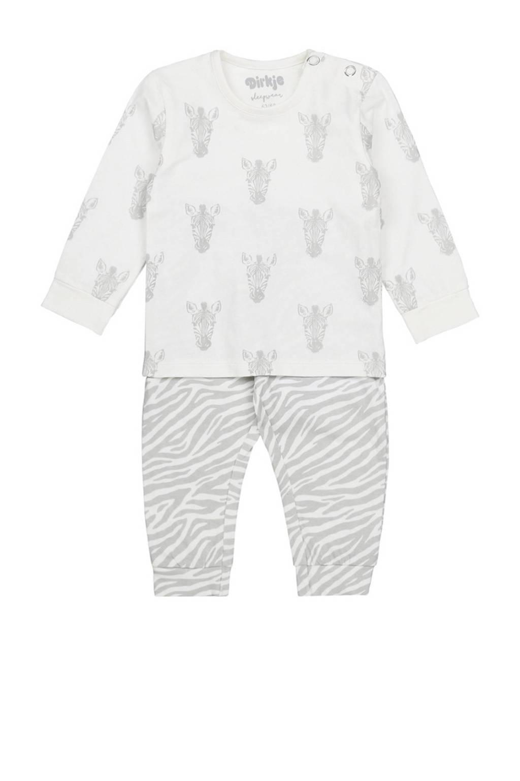 Dirkje pyjama wit/grijs, Wit