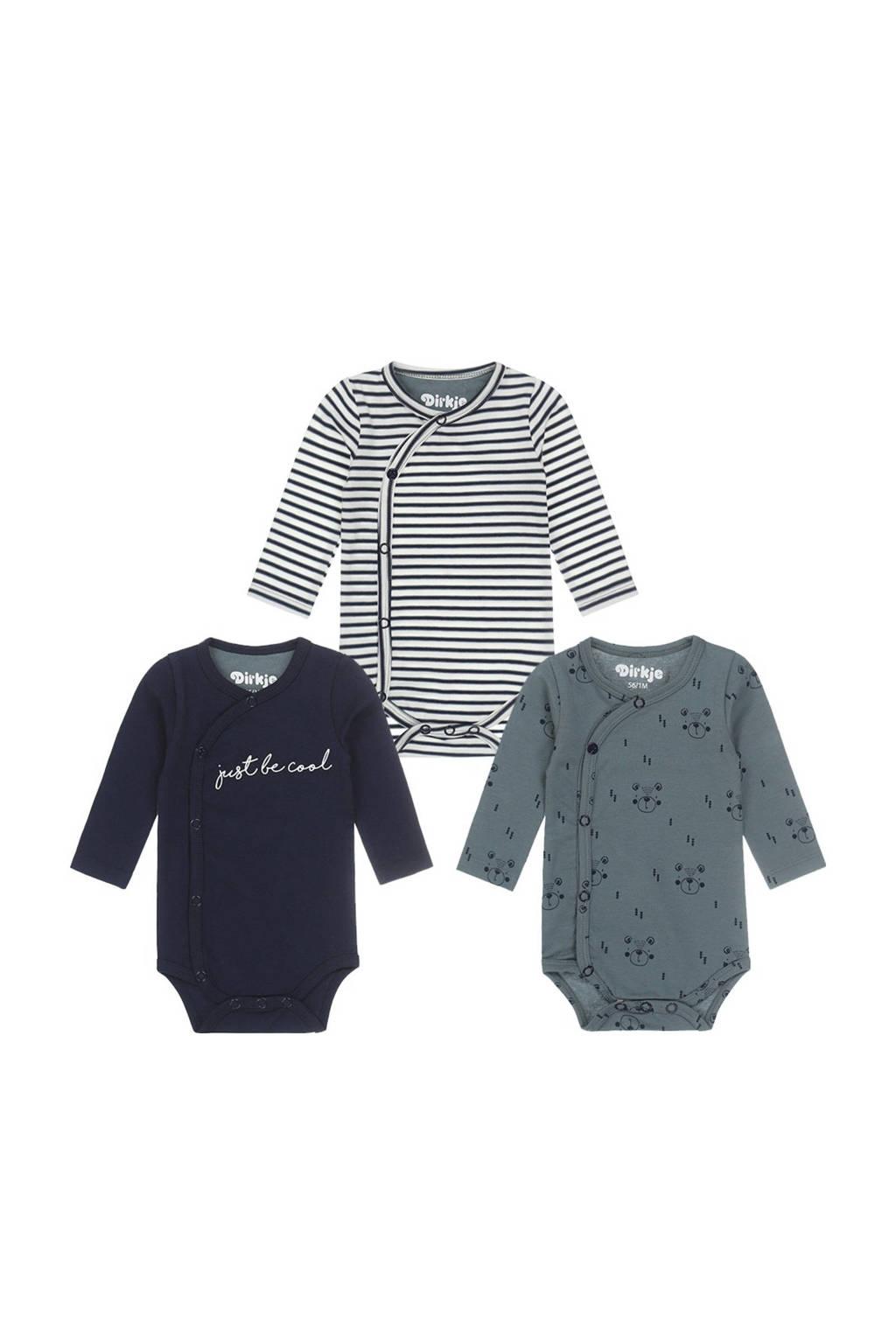 Dirkje newborn baby romper - set van 3 van biologisch katoen donkerblauw/grijsgroen/wit, Donkerblauw/grijsgroen/wit