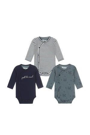 newborn baby romper - set van 3 van biologisch katoen donkerblauw/grijsgroen/wit