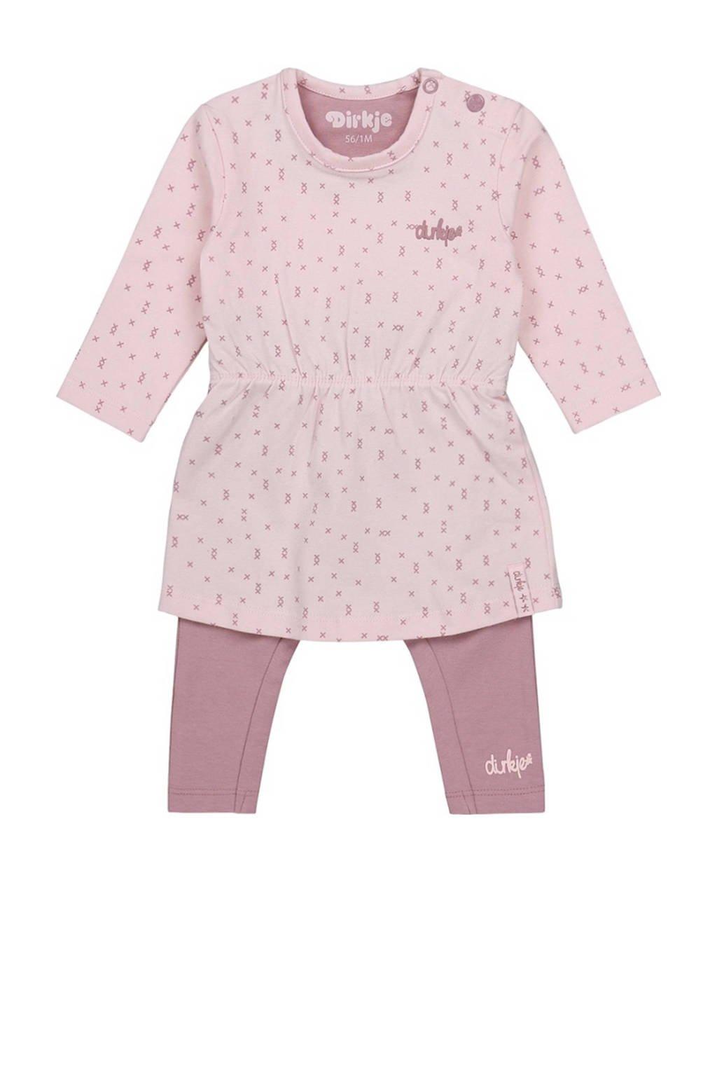 Dirkje baby jurk + legging met biologisch katoen roze/lichtroze, Roze/lichtroze