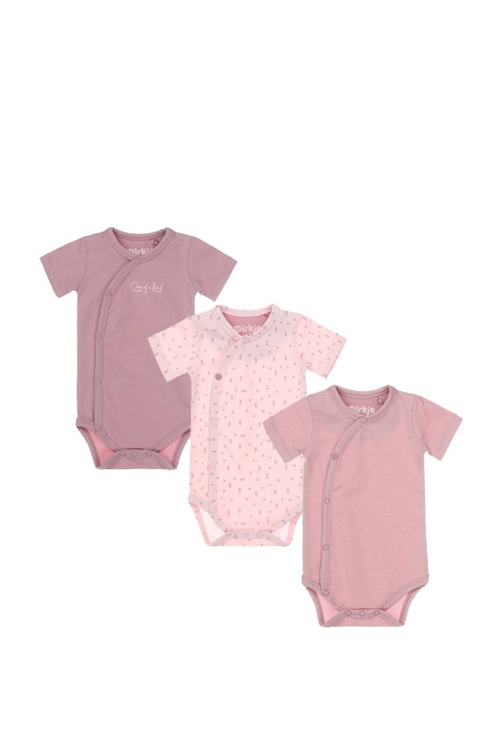 Dirkje newborn baby romper - set van 3 roze, Roze/lichtroze