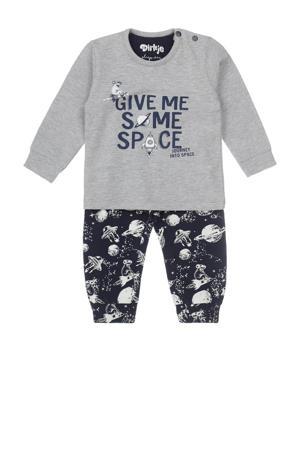 pyjama grijs melange/donkerblauw