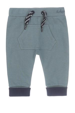 broek met biologisch katoen grijsgroen/donkerblauw